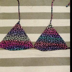 NWOT Victoria's Secret Rainbow Leopard Bikini Top